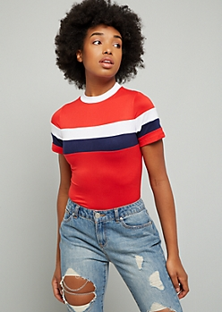 Red Colorblock Super Soft Mock Neck Bodysuit