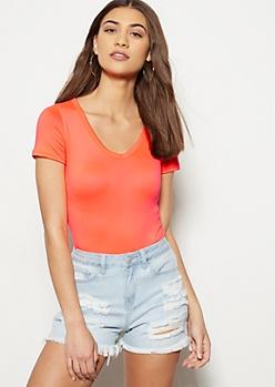 Neon Coral Super Soft V Neck Bodysuit