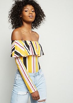 Mustard Striped Super Soft Off The Shoulder Flounce Bodysuit