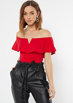 Red Flounce Notch Neck Bodysuit