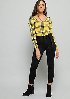 Yellow Plaid Print Super Soft V Neck Bodysuit