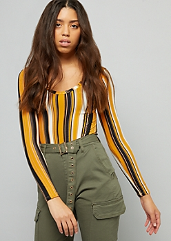 Mustard Striped Super Soft V Neck Bodysuit