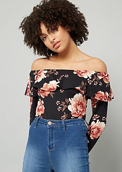 Black Floral Print Off The Shoulder Flounce Bodysuit