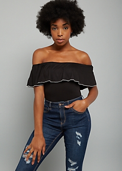 Black Off The Shoulder Trim Flounce Bodysuit