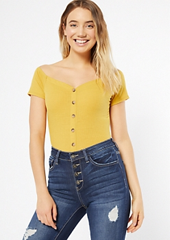 Mustard Ribbed Knit Button Down Bodysuit