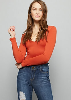Burnt Orange V Neck Long Sleeve Super Soft Bodysuit