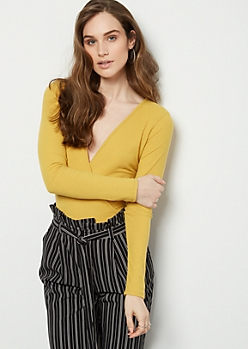 Mustard Surplice Ribbed Knit Bodysuit