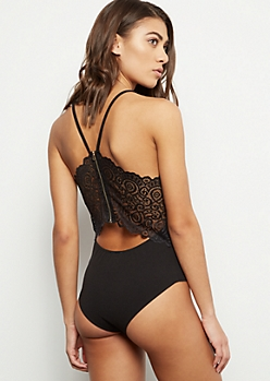 Black Lace Cutout Back Cami Bodysuit