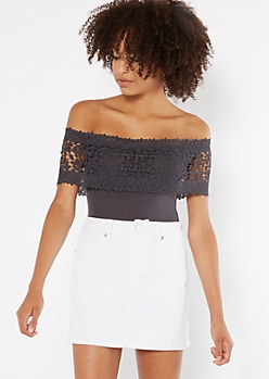 Charcoal Sleeveless Crochet Flounce Bodysuit