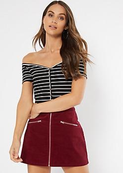 Black Striped Button Front Bodysuit