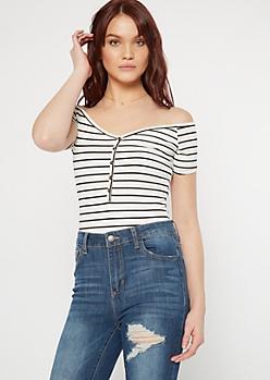 White Striped Button Front Bodysuit