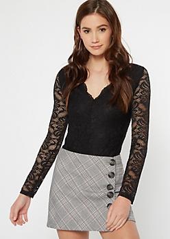 Black Long Sleeve Lace Bodysuit