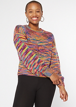 Bright Space Dye Balloon Sleeve Sweater