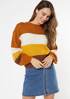 Gold Striped Balloon Sleeve Sweater