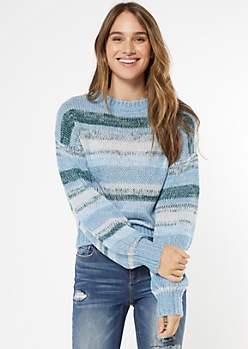 Blue Marled Striped Balloon Sleeve Sweater