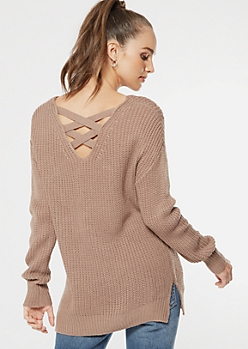 Stone Crisscross Back Pointelle Sweater