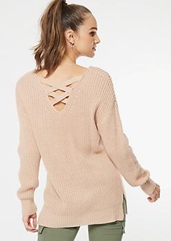 Pink Lattice Back Pointelle Sweater