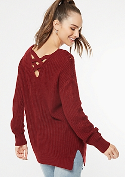 Burgundy Crisscross Back Pointelle Sweater