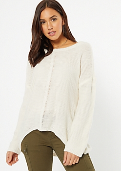 Ivory Cable Knit High Low Sweater