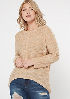 Oatmeal Marled Cable Knit High Low Sweater