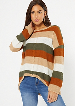 Burnt Orange Striped Cable Knit High Low Sweater