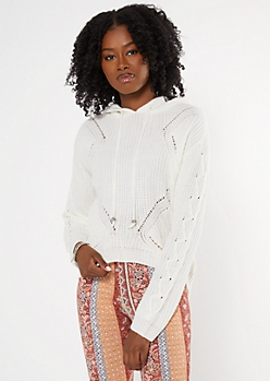 Ivory Lace Up Sleeve Hooded Sweater