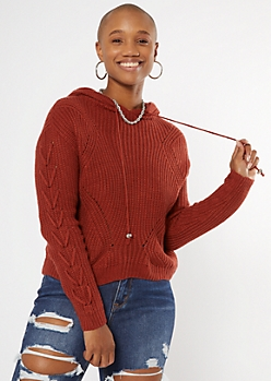 Burnt Red Lace Up Sleeve Hooded Sweater