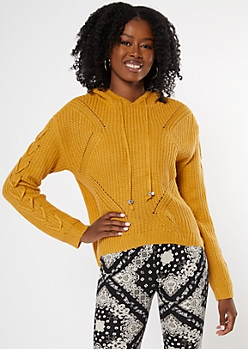 Mustard Lace Up Sleeve Hooded Sweater