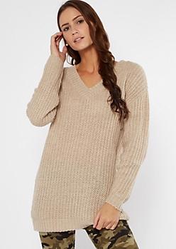 Oatmeal Heather Double V Neck Oversized Sweater