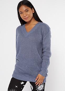 Blue Double V Neck Oversized Tunic Sweater