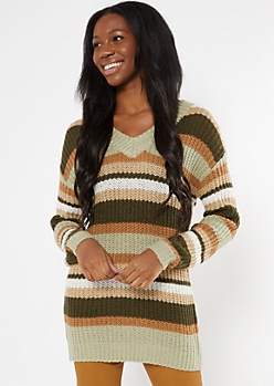 Green Striped Print Double V Sweater