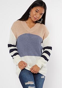 Mixed Stripe Double V Neck Oversized Tunic Sweater
