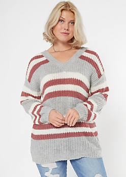 Gray Striped Double V Neck Tunic Sweater