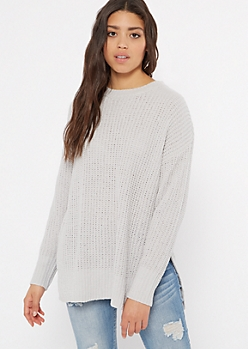 Gray Chenille Side Slit High Low Sweater