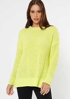 Neon Green Side Slit High Low Tunic Sweater