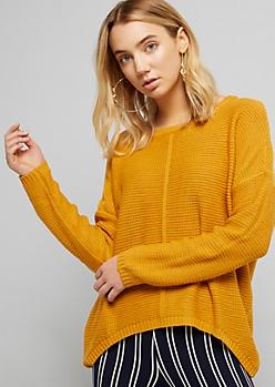 Mustard Boxy High Low Knit Sweater