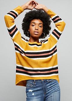 Yellow Striped Boxy High Low Knit Sweater