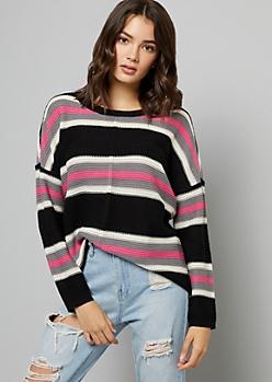 Black Striped Boxy High Low Knit Sweater