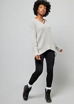 Light Gray Drop Sleeve Boxy High Low Sweater