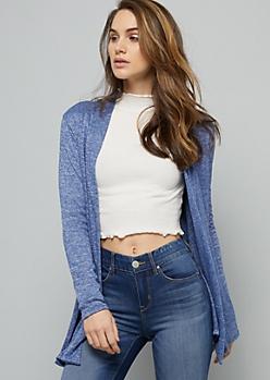 Blue Open Front Hacci Long Length Cardigan