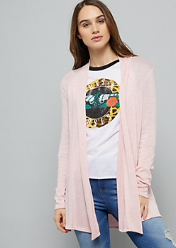 Light Pink Open Front Hacci Long Length Cardigan