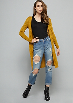 Mustard Marled Open Front Hacci Side Slit Cardigan