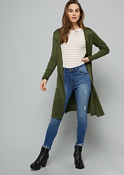 Green Marled Open Front Hacci Side Slit Cardigan