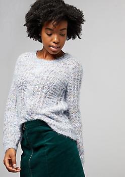 Marled Blue Eyelash Knit Sweater