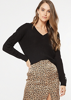 Black Lace Up Sleeve V Neck Sweater