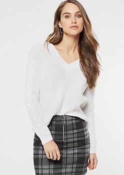 White Lace Up Sleeve V Neck Sweater