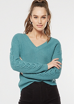 Turquoise Lace Up Sleeve V Neck Sweater