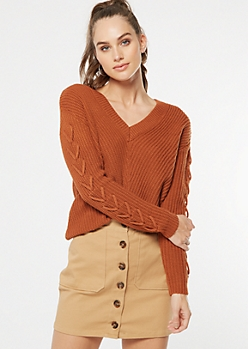 Burnt Orange Lace Up Sleeve V Neck Sweater
