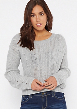 Gray Curved Hem Cable Sweater