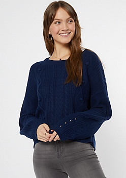 Navy Curved Hem Cable Sweater